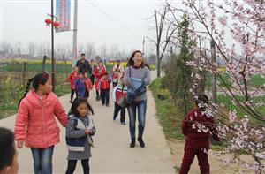 淮滨老师家长孩子来到桃花盛开的村庄