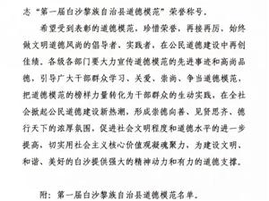 第一届白沙黎族自治县道德模范名单公布