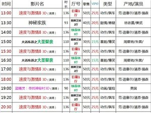 建水巨幕影城4月26日(周三)上映表