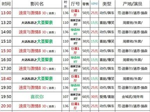 建水巨幕影城4月27日(周四)上映表