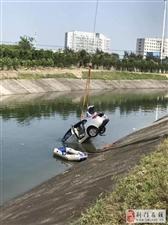 一轿车冲入荆门三干渠,车内一人死亡!