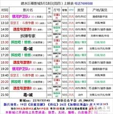 建水巨幕影城5月18日(周四)上映表