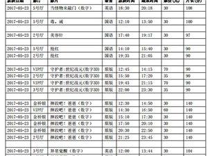 陇南青影数字影院2017年5月23日影讯