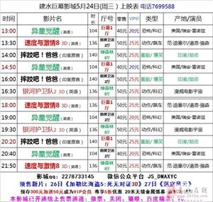 建水巨幕影城5月24日(周三)上映表