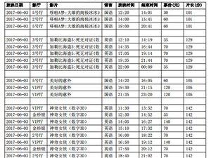陇南青影数字影院2017年6月3日影讯