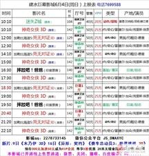 建水巨幕影城6月4日(周日)上映表