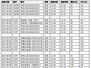 陇南青影数字影院2017年6月8-9日影讯