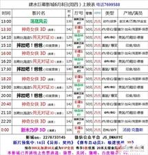 建水巨幕影城6月8日(周四)上映表