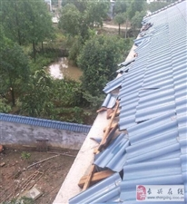 暴风雨后,房子的瓦片都飞了