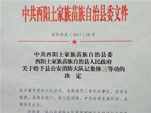 酉阳县委县政府给予酉阳消防大队荣记集体三等功