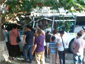 天气炎热多事故!公交车撞上大树!