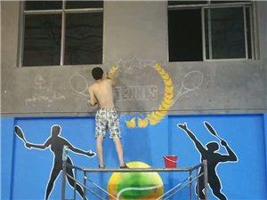 """城市114""""老辛墙绘工作室""""为""""动力少儿网球俱乐部""""精心打造手绘墙画"""