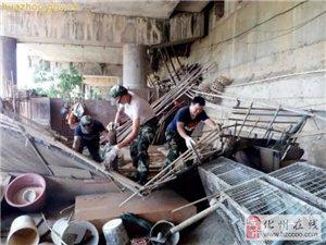 化州城管大动作!联合多部门清理城区河堤上的临时搭建物