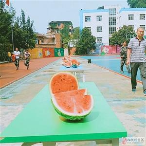 【吃西瓜大赛】日前,贵州新华电脑学院在操场上进行解暑降温吃西瓜的趣味比