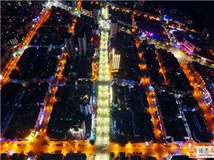 航拍潼南之夜,霓虹间的梦幻街道