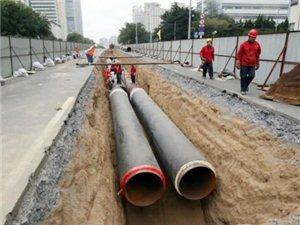 莱阳新增供热管道的铺设现场