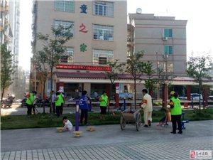 高州市长坡薪火队志愿者参加当地创文活动