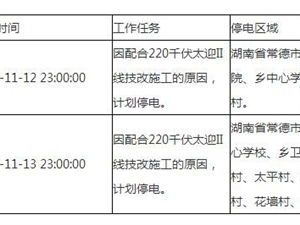 停电通知(2017-11-12、2017-11-13)
