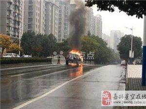 嘉兴凌公塘农翔路口一辆奥迪Q7轿车发生自燃