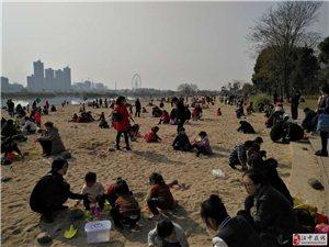 汉中江边亲水沙滩,周末人山人海!