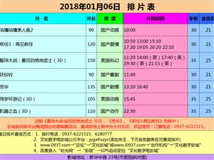 嘉峪关市文化数字电影城2018年1月6日排片表