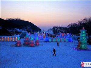 南哨湿地冰雕戏雪景观