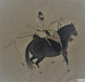 唐・韩�帧ぃ嗄谅硗迹�闲云野鹤临摹・・绢本・纵27、5厘米横34、1厘米