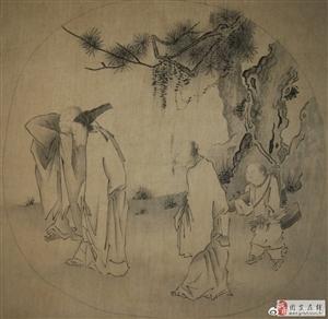 宋人小品(三高�[赏图)宋、梁楷、闲云野鹤临摹、绢本、纵25厘米、横26