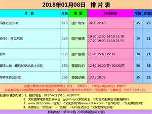 嘉峪关文化数字影城2018年01月08日排片表