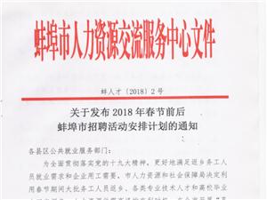"""蚌埠市2018年春节期间""""孔雀计划""""系列美高梅注册活动安排表"""