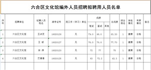 六合区文化馆编外人员招聘拟聘用人员名单公示