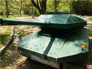 普宁里湖有牛人  仿造坦克穿树林