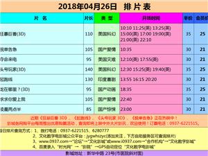嘉峪关文化数字影城2018年04月26日排片表