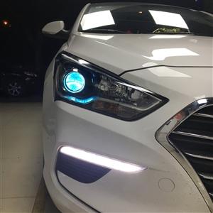 名图大灯升级海拉五双光透镜氙气灯,冰蓝色恶魔眼,重庆南坪海海改灯