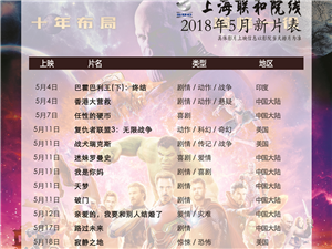 嘉峪关市文化数字电影城2018年5月3日排片表