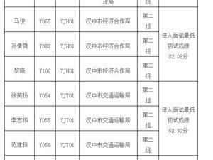 关于汉中市市级政府机关单位公开遴选公务员考试初试成绩及面试有关事项的公
