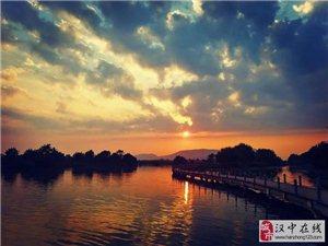汉中湿地公园的晚霞如此美丽