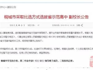 公告 | 桐城市采取比选方式选拔省示范高中副校长!