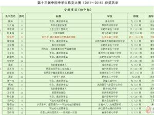 美高梅注册县在第十三届中国中学生作文大赛(安徽赛区)中取得佳绩