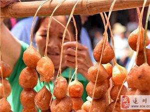 遂川:串起来卖的特色小吃――米果(组图)