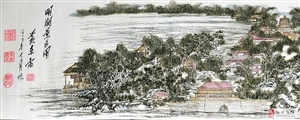 黄东雷《明湖景区图》的图样制作成壁画