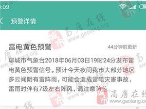 聊城�庀缶贮S色�A警:今晚雷�雨,可能有雷��暮Γ��伴有7�大�L!