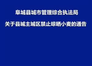 阜城县城市管理综合执法局关于县城主城区禁止晾晒小麦的通告