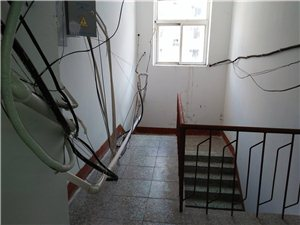 刷墙后楼道的管线影响居民通行。