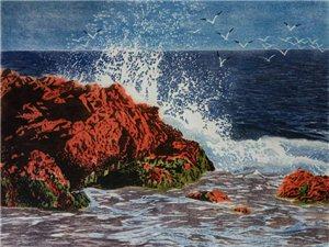 浪激红石滩(水印木刻)