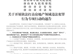 通报唐山一房产典型违法案件!唐山四部门联合发布重要通告!