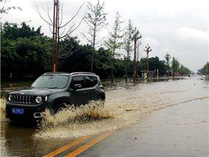 7月12日下午,广汉市深圳路路面实况~那维亚・马牧小区门口有水(图片)