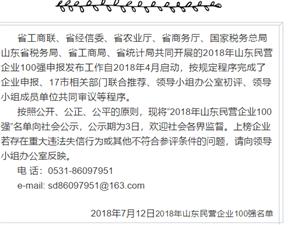 2018年山东民营企业100强公示(全名单)!看你知道哪些!