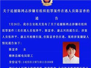 关于追捕柳林籍在逃人员陈富香的通告
