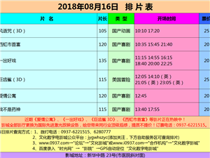 金沙国际网上娱乐官网市文化数字电影城18年8月16日排片表